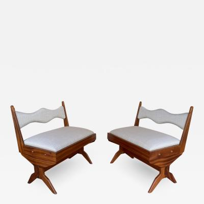 Pierre Jeanneret Pair of Compas Wood Armchairs Italy 1960s