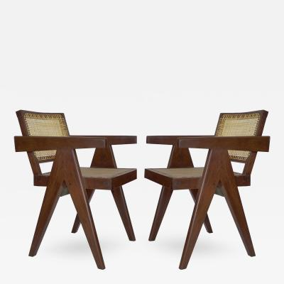 Pierre Jeanneret Pair of PJ SI 28 D Armchairs designed by Pierre Jeannerete for Chandigrah