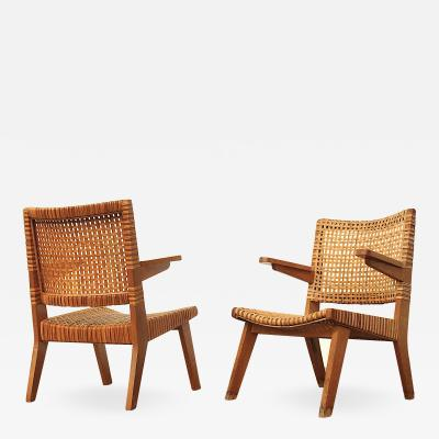 Pierre Jeanneret Pair of Pierre Jeanneret Rattan Easy Chairs
