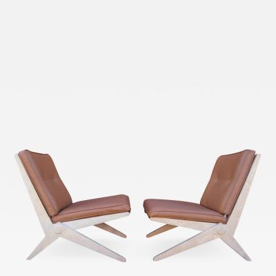 Pierre Jeanneret Pair of Scissor Chairs Model 92 by Pierre Jeanneret for Knoll