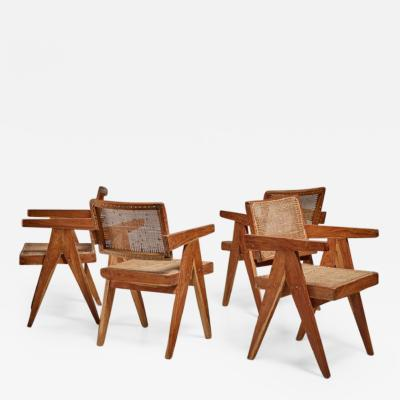 Pierre Jeanneret Pierre Jeanneret Chandigarh set of four High Court V leg chairs 1950s