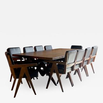 Pierre Jeanneret Pierre Jeanneret Dining Table Ten Chairs Teak Chandigarh Circa 1960s