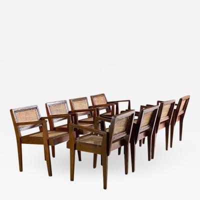 Pierre Jeanneret Pierre Jeanneret Take Down Teak Armchairs Set of Eight Chandigarh