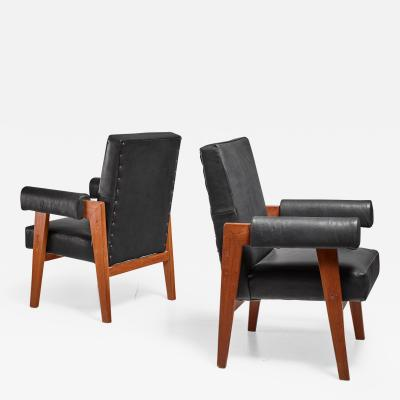 Pierre Jeanneret Pierre Jeanneret pair of Chandigarh High Court armchairs 1950s