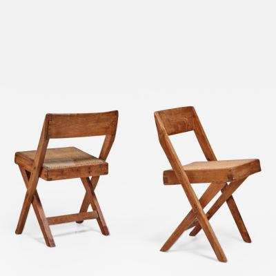Pierre Jeanneret Pierre Jeanneret pair of Chandigarh High Court library chairs 1950s