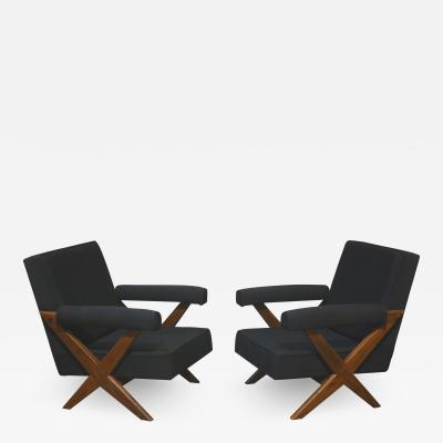 Pierre Jeanneret Pierre Jeanneret pair of X leg Armchairs 1960