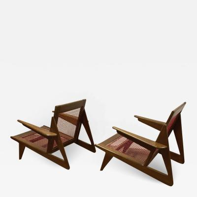 Pierre Jeanneret Pierre Jeanneret style pair of stunning vintage pair of lounge chairs