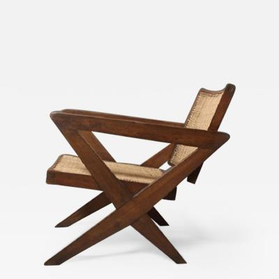 Pierre Jeanneret Rare Armchair known as Cross easy chair in solid teak and braided canework