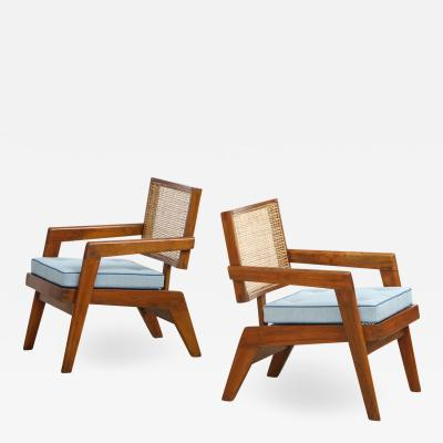 Pierre Jeanneret Rare Pair of Arm Chairs by Pierre Jeanneret
