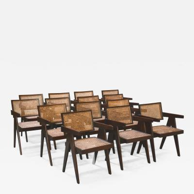 Pierre Jeanneret Set of 14 Amchairs in the style of PIERRE JEANNERET