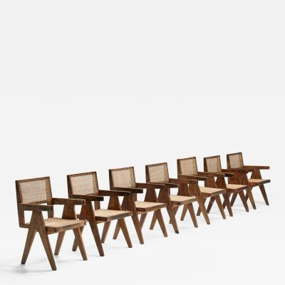 Pierre Jeanneret Set of Pierre Jeanneret Office Dining Cane Chairs Chandigarh PJ SI 28 B