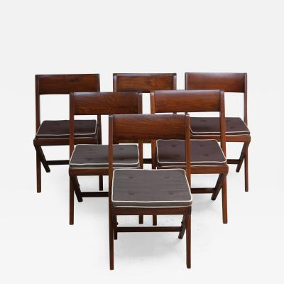 Pierre Jeanneret Set of Six Pierre Jeanneret Library Chairs in Teak and Cane