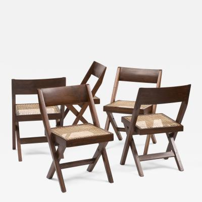 Pierre Jeanneret Set of Six Pierre Jeanneret Library Chairs in Teak from Chandigarh 1950s