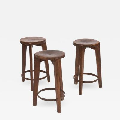 Pierre Jeanneret Set of Three Stools in Teak and Iron by Pierre Jeanneret for Chandigarh 1965
