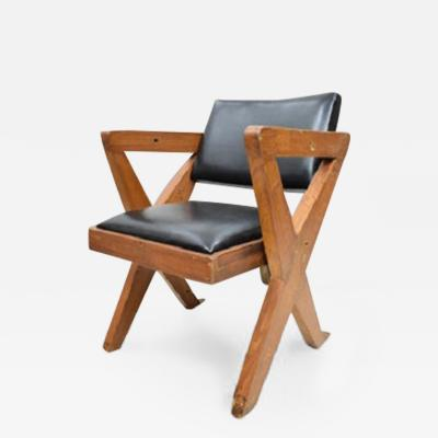 Pierre Jeanneret Theater chair with upholstery and X legs ca 1960
