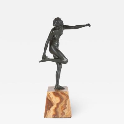 Pierre Le Faguays Art Deco Pierre La Faguay Bronze Flapper Sculpture on Exotic Onyx Plinth Base