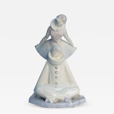 Pierre Le Faguays Art Deco Pierre Le Faguays Pierrot and Pierette Porcelain Figure