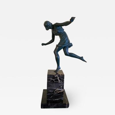 Pierre Le Faguays French Art Deco Bronze of a Young Girl with a Ball