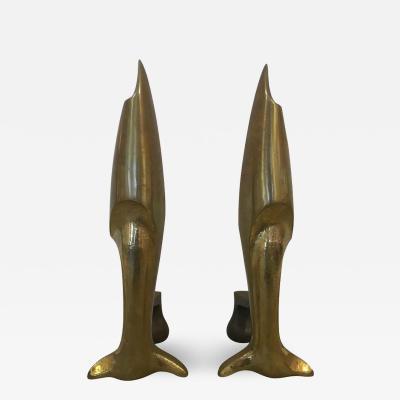 Pierre LeGrain French Art Deco Andirons Bronze Attibuted Pierre Legrain