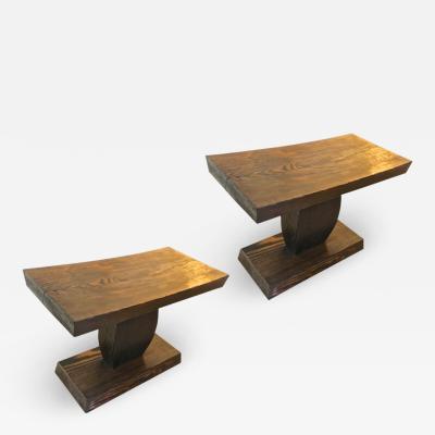 Pierre LeGrain style of Pierre Legrain pair of art deco brutalist side tables or stools