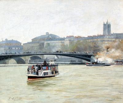 Pierre Louis L ger Vauthier Bateau Mouche sur la Seine Paris