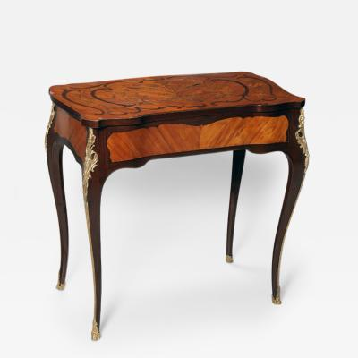 Pierre Macret A Marquetry Table with Gilt Bronze mounts and Secret Drawer Opening in Apron