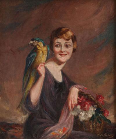Pierre Mitiffiot de Be lair Art Deco Oil on Canvas by Pierre Mitiffiot de Be lair