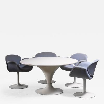 Pierre Paulin Dining suite with Miller table and 4 Little Tulip chairs by Pierre Paulin