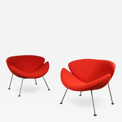 Pierre Paulin Pair of Pierre Paulin First Edition Orange Slice Chairs for Artifort 1950