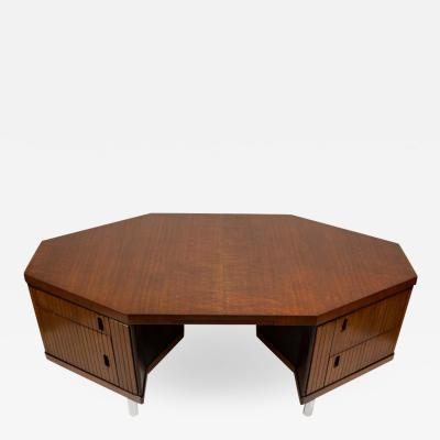 Pierre Paulin Pierre Paulin Desk Custom Made Hexagonal French Ribbon Mahogany Solid Oak