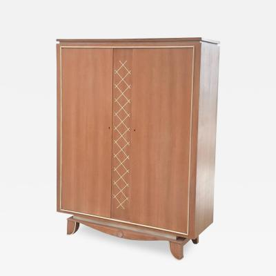 Pierre Petit Pierre Petit French Modern Limed Oak and Parchment Tall Cabinet 1940s