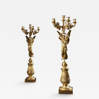 Pierre Philippe Thomire EXCEPTIONAL PAIR OF FRENCH LATE EMPIRE GILT BRONZE CANDELABRA