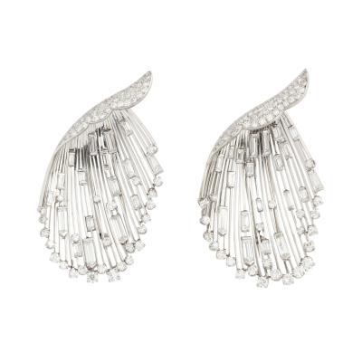 Pierre Sterl Pair of Diamond Platinum Brooches by Sterle Paris Circa 1950s