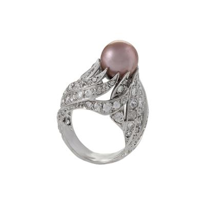 Pierre Sterl Sterl Mid 20th Century Diamond Natural Pearl and Gold Ring