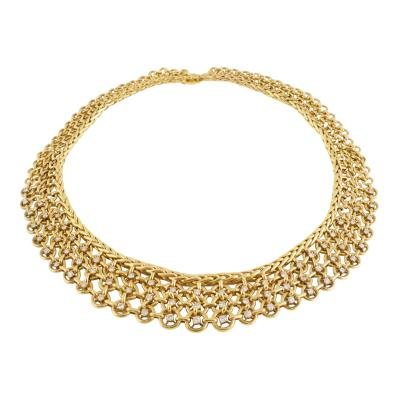 Pierre Sterl Sterl Paris Diamond and Gold Bib Necklace