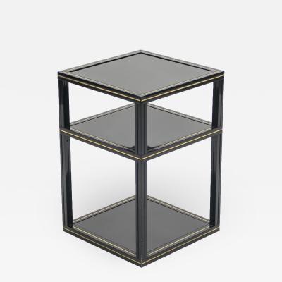 Pierre Vandel 3 Tiers side table black opaline glass by Pierre Vandel 1970s
