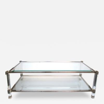 Pierre Vandel A Chic French Pierre Vandel Nickel Glass and Lucite Rectangular Coffee Table