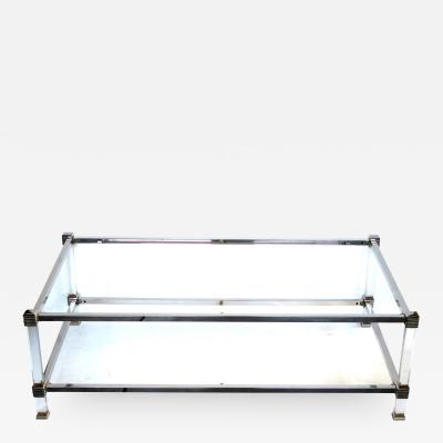 Pierre Vandel A French Pierre Vandel Nickel Lucite and Glass Coffee Table
