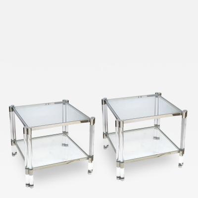 Pierre Vandel A Pair of French Nickel Plated Lucite and Glass Tables Pierre Vandel