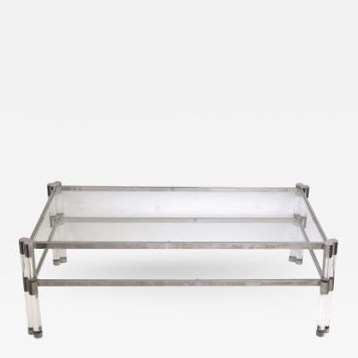 Pierre Vandel A Stylish French Pierre Vandel Glass Lucite and Nickel Plated Coffee Table