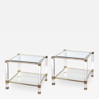 Pierre Vandel Chic Pair of French Nickel Lucite and Glass Tables by Pierre Vandel