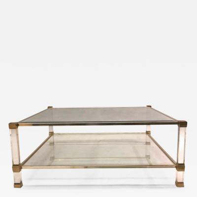 Pierre Vandel Large Square French Midcentury Double Tier Lucite and Brass Coffee Table Vandel