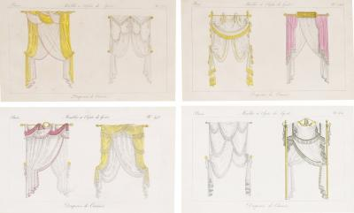 Pierre de La M sang re Set of Four Dual Image Engravings of Drape Curtain Designs from the 18th c
