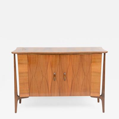 Piet Hein Danish Modern Inlaid Walnut Two Door Credenza by Piet Hein