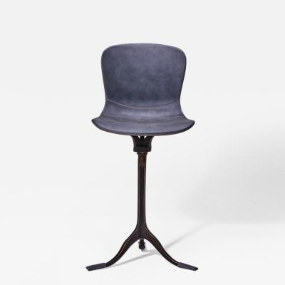 Pieter Compernol Stephanie Grusenmeyer Florian Gypser Bespoke Counter Height Swivel Chair Solid Brass and Leather by P Tendercool