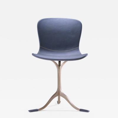 Pieter Compernol Stephanie Grusenmeyer Florian Gypser Blue Leather and Golden Sand Cast Brass Chair by P Tendercool