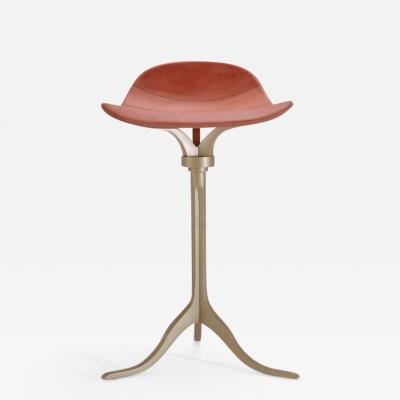 Pieter Compernol Stephanie Grusenmeyer Florian Gypser Set of Bespoke Counter Height Swivel Stools Leather and Brass by P Tendercool