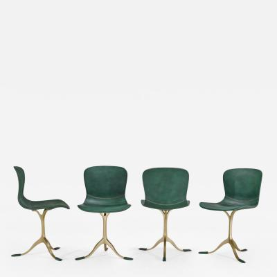 Pieter Compernol Stephanie Grusenmeyer Florian Gypser Set of Bespoke Leather Chairs with Hand Cast Brass Base by P Tendercool