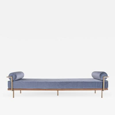 Pieter Compernol Stephanie Grusenmeyer Jerome B rrier Bespoke Double Daybed in Reclaimed Hardwood and Solid Brass Frame P Tendercool