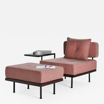 Pieter Compernol Stephanie Grusenmeyer Jerome B rrier Bespoke Lounge Chair and Ottoman Reclaimed Hardwood and Brass by P Tendercool